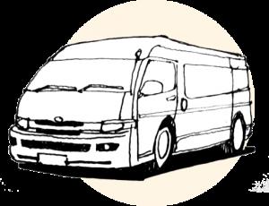 by van